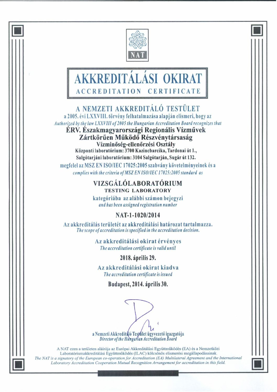Akkreditálási okirat NAT-1-1020-2014