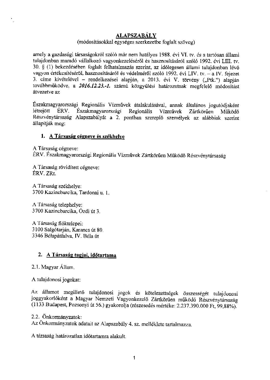 MICROSEC e-Szignó - A létesítő okirat - változások(1)