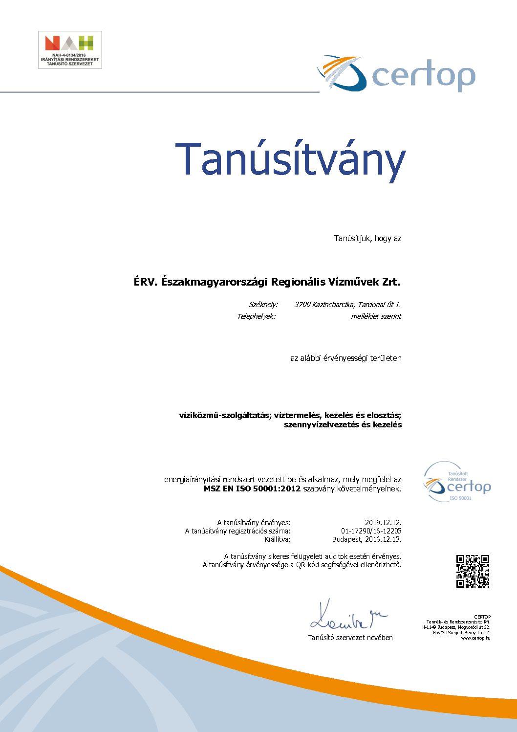 tanúsítvány HU17290-16 MSZ EN ISO 50001-2012 magyar