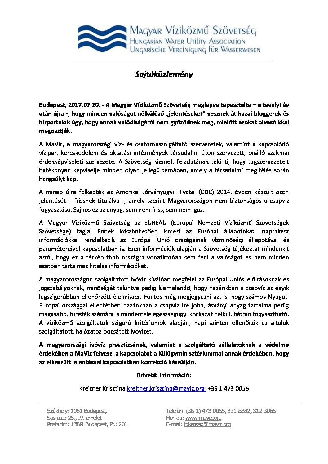 Közlemény - ivóvíz presztízsének védelme 07.20