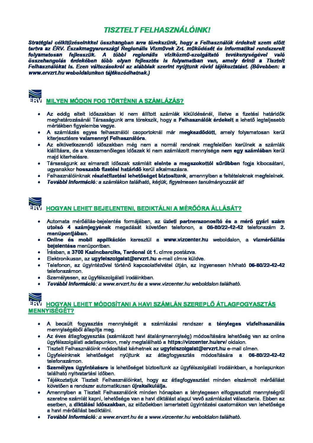 ÉRV. Zrt. ügyintézéssel kapcsolatos tájékoztatók