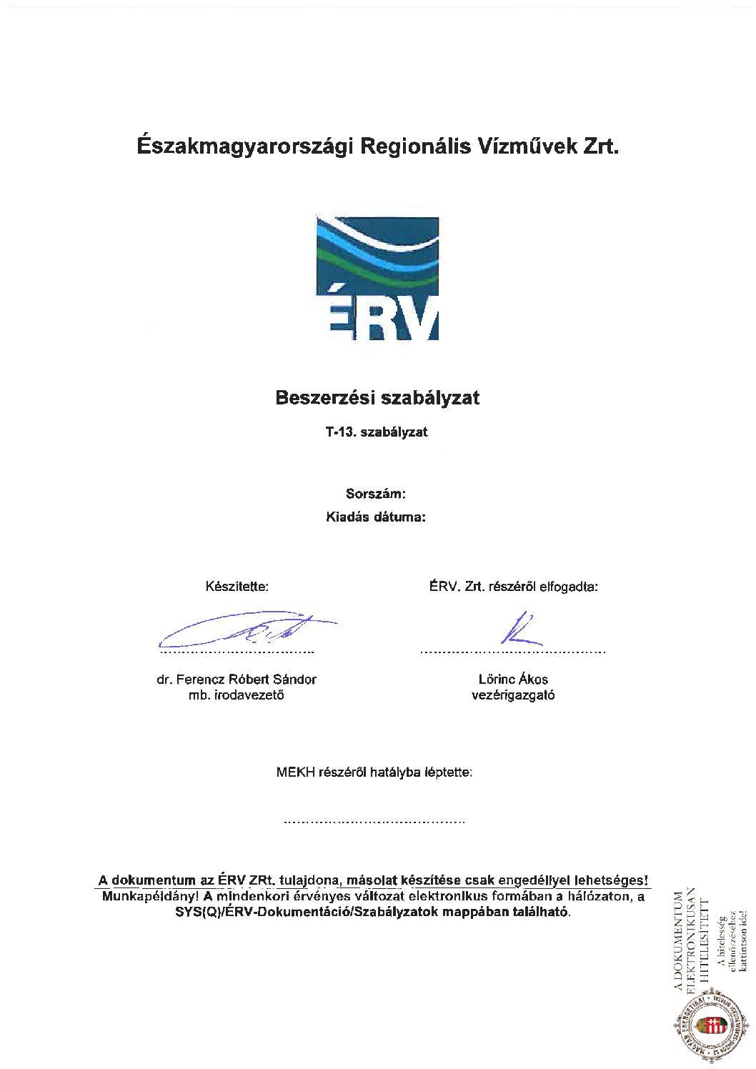 T-13-1 Beszerzési szabályzat_ÉRV Zrt. 20181115