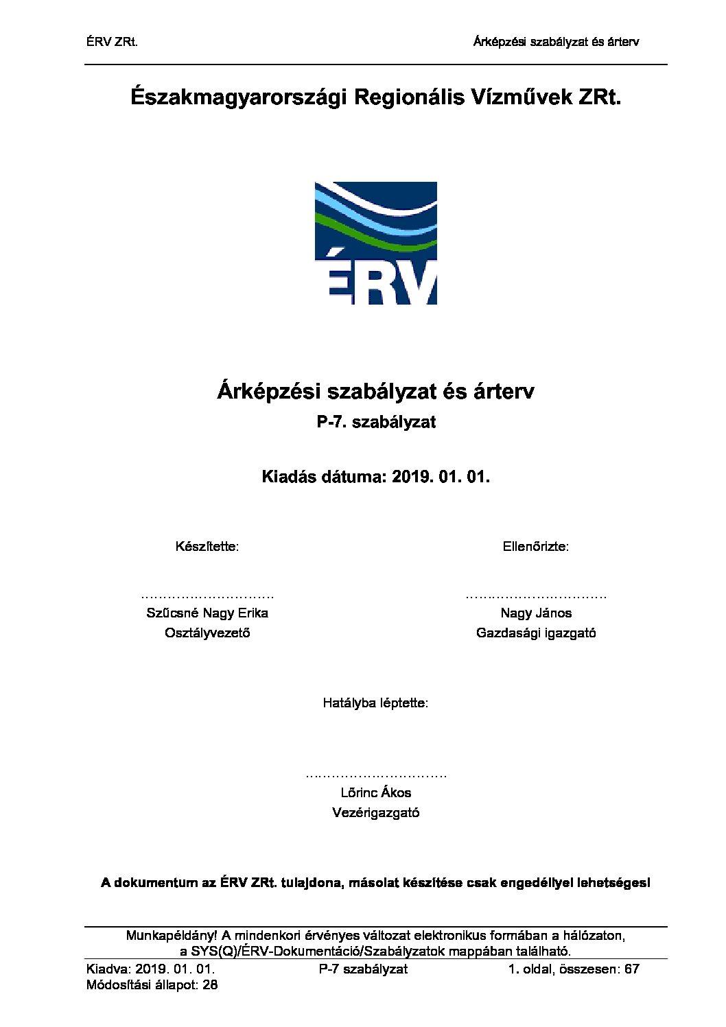 P-7-28 Árképzési szabályzat és árterv
